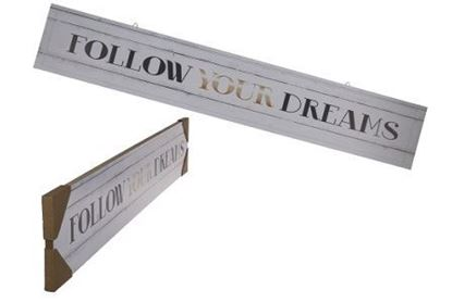 "Bild von Holz-Schild ""Follow your Dreams"" 80x13.5cm"